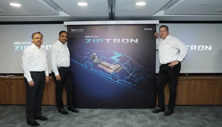 R-L: Guenter Butschek, CEO & MD, Tata Motors; Shailesh Chandra, President - Electric Mobility Business & Corporate Strategy and Anand Kulkarni - Product Line Head – EVBU.