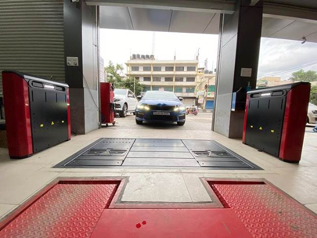 The Quick Check Drive, which has been installed in Madhus Garage Equipment's tyre shop in Bangalore, is currently undergoing trials.