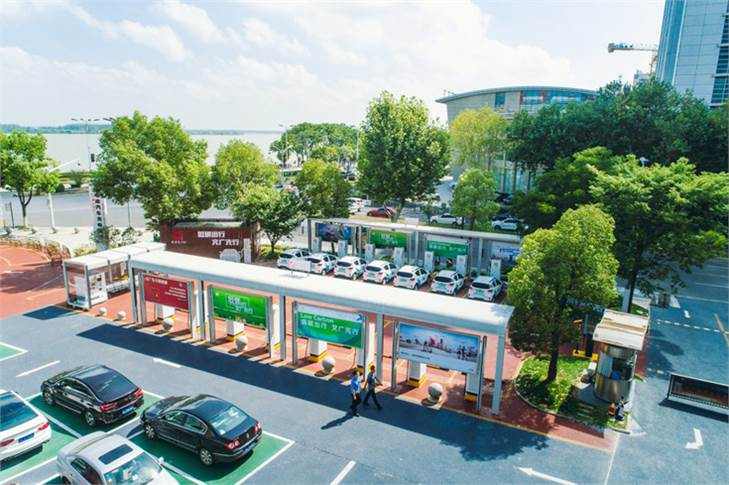 ABB helped Zhenjiang, one of China's ecological civilization and low-carbon pilot cities, launch its first fast EV charging station. Image: ABB / Twitter
