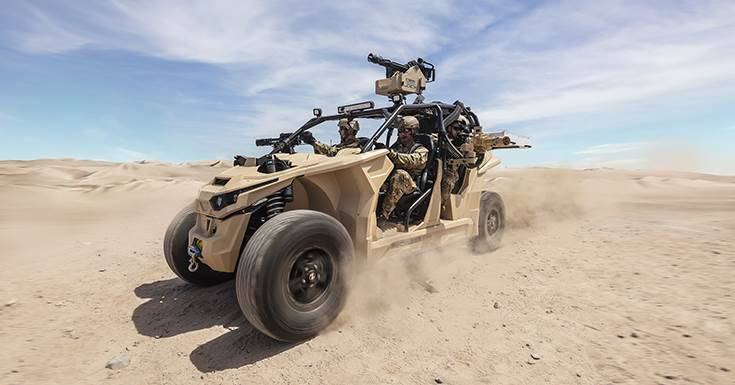 Autonomous-capable Nikola Reckless military all-terrain vehicle with 4 electric motors claimed to offer increased efficiency, instant power, improved reliability and regenerative stopping power.