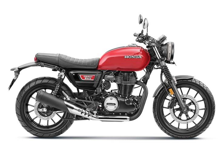 CB350RS highlights include wide-pattern tyres, LED turn indicators, brushed-metal ring around the headlamp, 'tuck-and-roll' seat design, under-seat rear LED tail-lamp cluster, front fork boots and a bash plate to protect the engine.