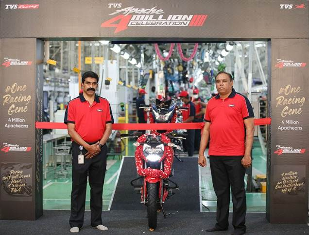 Right: Meghashyam Dighole, Head - (Marketing) Premium Motorcycles, TVS Motor Company, at the rollout of the TVS Apache four millionth motorcycle.