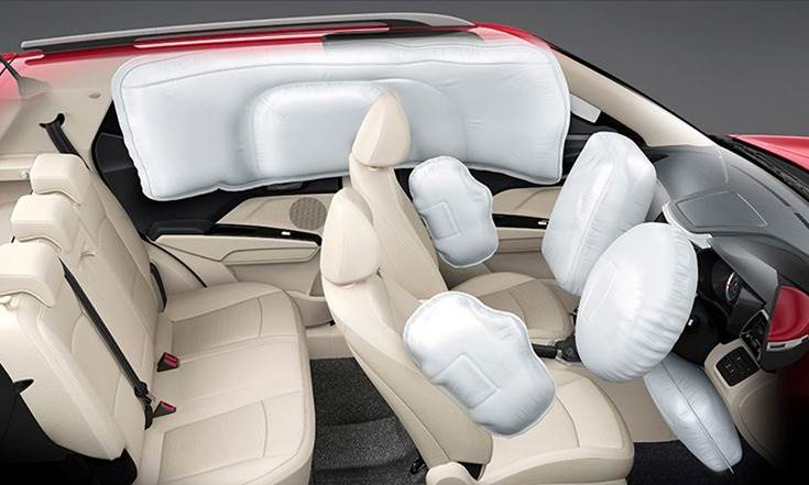 The Mahindra XUV300 is equipped with 7 airbags including a knee airbag in addition to dual-front, side and curtain airbags.