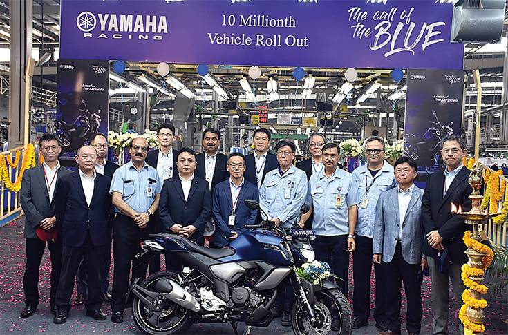 India Yamaha Motor achieved a production milestone of 10 million units in May 2019.