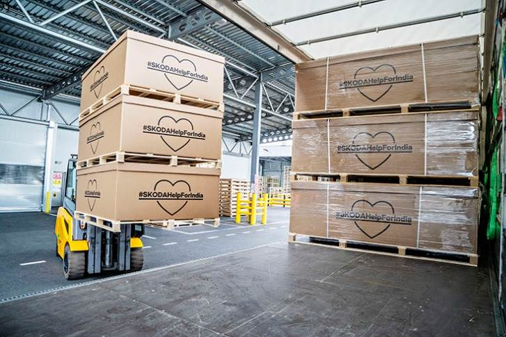 Skoda says its purchasing and logistics departments worked under high pressureto procure the relief supplies and send them as quickly as possible.