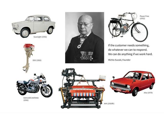 It was on March 15, 1920 that Suzuki Loom Manufacturing Company was founded by Michio Suzuki. Since then, Suzuki has expanded its business from looms to motorcycles, automobiles, outboard motors, ATVs