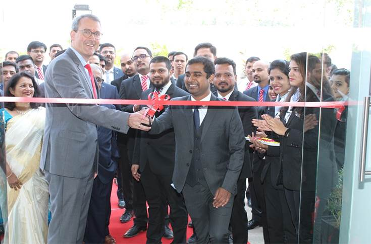 Michael Jopp, vice president - sales and marketing, Mercedes-Benz India and Om Moharir, director, Indisch Motoren at the inauguration of Mercedes-Benz 3S luxury dealership in Aurangabad