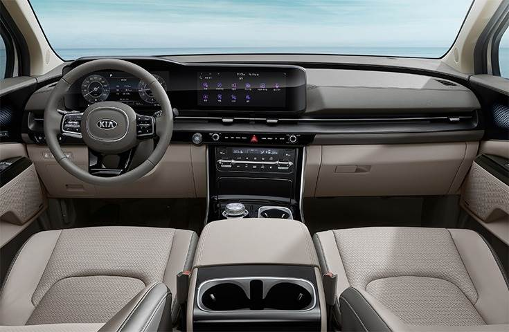 Interior highlights include a panoramic dashboard display with haptic touch control, intelligent packaging and comfortable seating across three or four rows, claimed best-in-class cargo space.