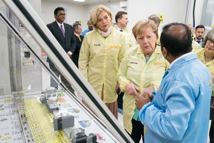 Chancellor Dr Angela Merkel, together with a German delegation, visited Continental's Manesar facility, near Gurugaon, on Saturday, November 2 at the end of her India visit.