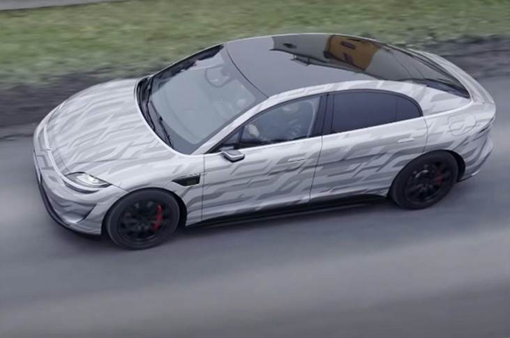 Sony Vision-S prototype wearing numberplates and a camouflage-style wrap being tested by engineers in Austria.