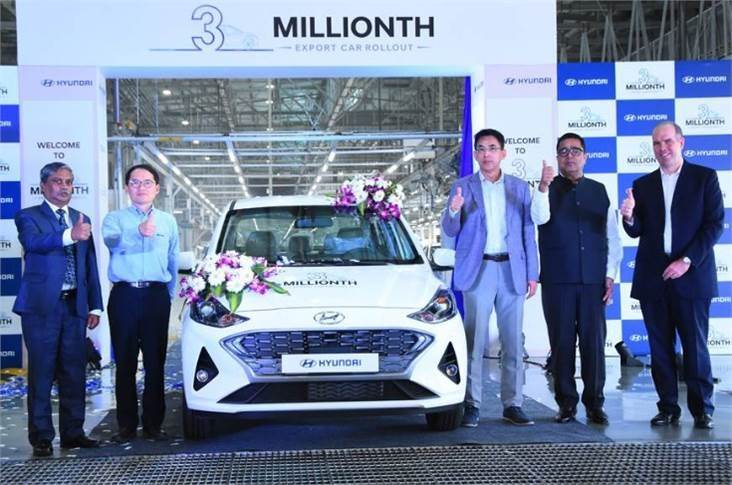 On January 30, 2020, Hyundai rolled out its three-millionth made-in-lndia car for export from its Chennai plant. The milestone car was a Hyundai Aura, badged as the Grand i10 as the compact sedan sell