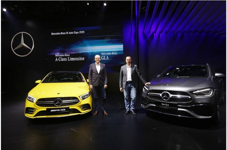 Matthias Luehers, Head Region Overseas, Mercedes-Benz Cars and Martin Schwenk, MD and CEO, Mercedes-Benz India with the New AMG A35 4M Limousine and the New GLA.