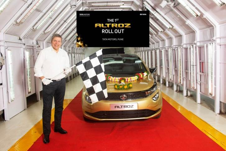 Guenter Butschek, CEO and MD, Tata Motors, at the rollout of the first Altroz from the Pune plant, ahead of the launch in January 2020. It is the first product to be launched on the ALFA platform.
