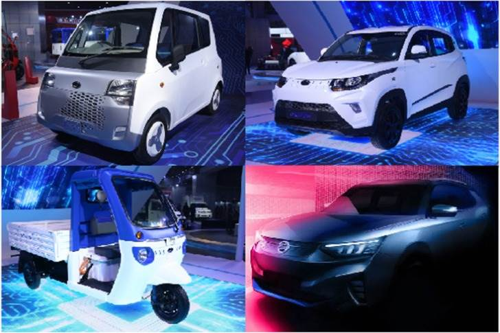In India, Mahindra Electric plans to launch the (clockwise from top left) Atom quadricycle, eKUV100 SUV; SsangYong E100 (Tivoli EV) and Treo Zor load carrier later this fiscal.