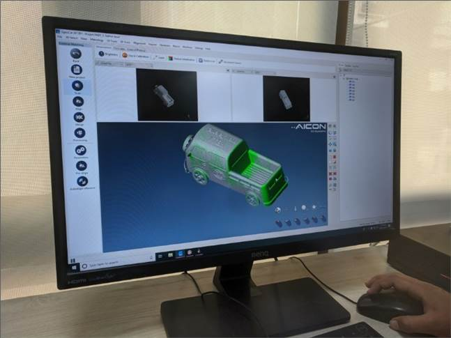 A 3D scan of a prototype imported into Catia 3D software.