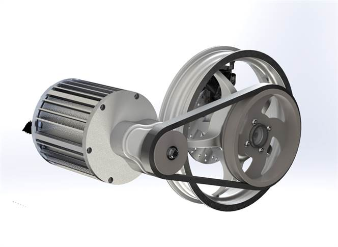 The 5kw integrated combo drive  designed for two-wheeler application.