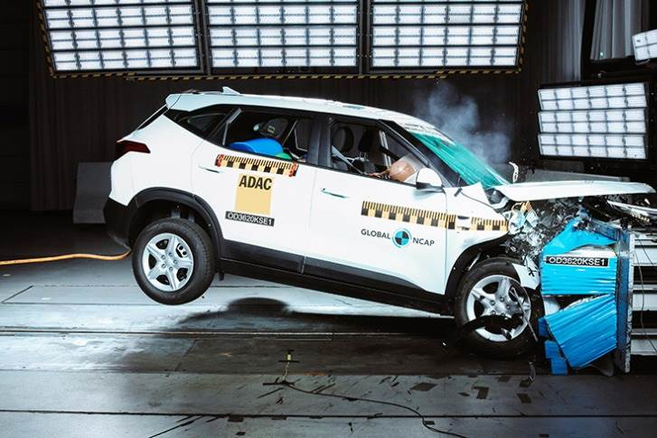 The Kia Seltos, which comes with double frontal airbag and pretensioners as standard, achieved three stars for adult occupant protection and two stars for child occupant protection.