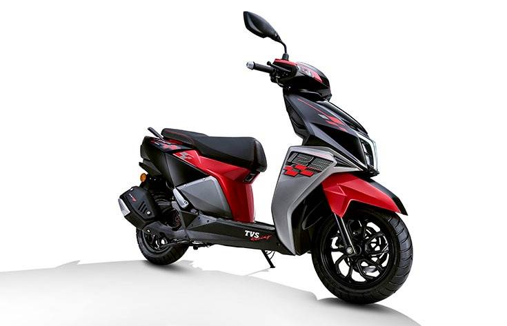 The NTorq is TVS's first 125cc scooter, powered by a new CVTi-REVV 124.79cc, single-cylinder, 4-stroke, 3-valve, air-cooled SOHC engine that develops 9.4 hp at 7500rpm and 10.5 Nm at 5500rpm.  Top spe
