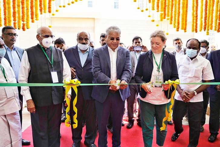 VG Sakthikumar, MD, Schwing Stetter India; A.R Subramanian, Executive Director - Finance, Schwing Stetter India, and Karin Stoll, Consulate General of Germany at the plant inauguration today.