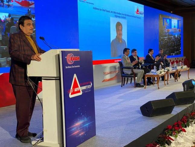 Transport Minister Nitin Gadkari at the FADA Auto Summit in New Delhi today.