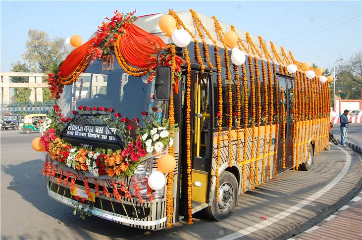 Tata Motors electric bus flagged off from Lucknow.
