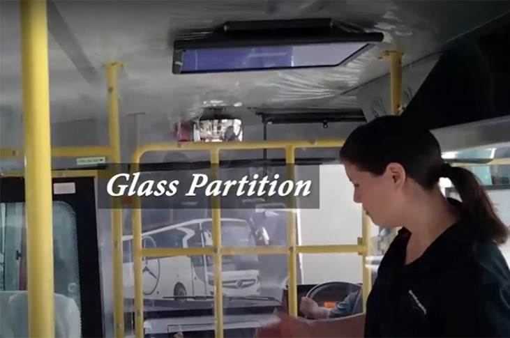 A glass partition has been integrated between the driver's cabin and the passenger cabin. The driver is also provided with a Covid safety kit