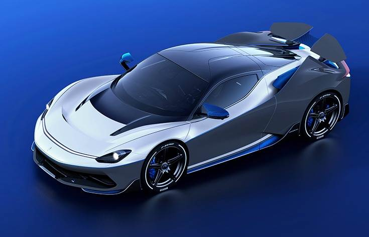 Pininfarina Battista EV hypercar, unveiled at the 2019 Geneva Motor Show, will be the most powerful road-legal car ever produced in Italy. It can do 0-305kph in under 12sec and a top speed of 355kph.