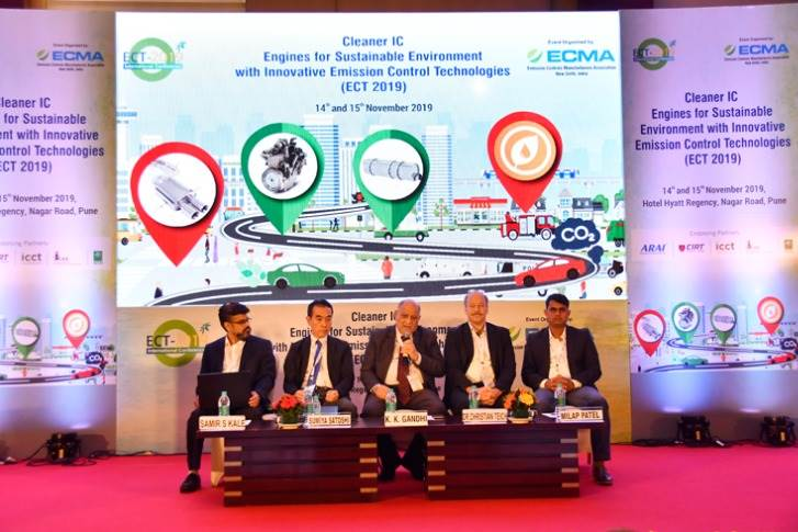 Session 3: Addressing CO2 reduction. L-R: Samir S Kale, DGM - Engines PD, Head Pune Centre, Ashok Leyland; Sumiya Satoshi, LDD, Principal Scientist, Johnson Matthey; K K Gandhi, Consultant and Advisor, TVS Motor Co; Dr Christian Teich, vice-president, Head of Development and Application Powertrain Solutions, Bosch; and Milap Patel, manager, Gasoline Engine Calibration, FEV India.