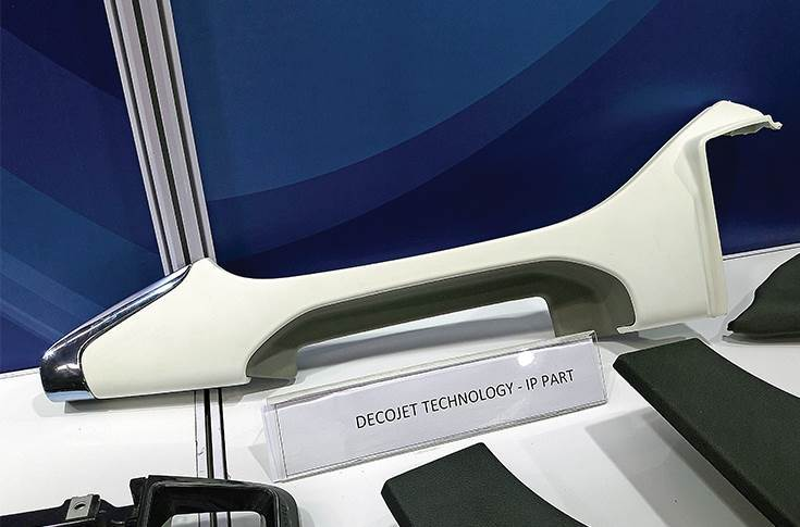 Decojet, a technology for improving haptics, used on decorative parts like dashboard and door child parts.