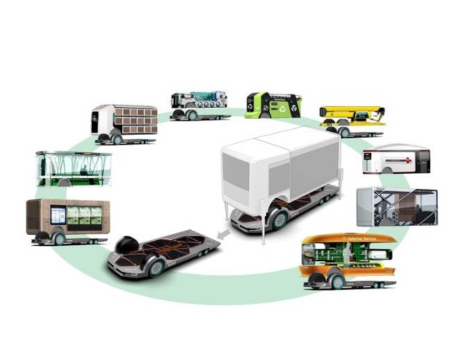 The new mobility service module will be easily detachable from the EV platform. Once detached the platform can be used as an independent, stand-alone unit, leaving the platform to be operated separately and continue on its next mission.