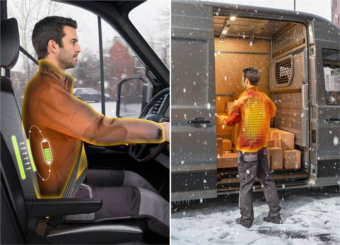 The jacket heating system means the energy consumption for heating the cab can be reduced by up to 90 percent. The driver also does not end up freezing when loading and unloading.