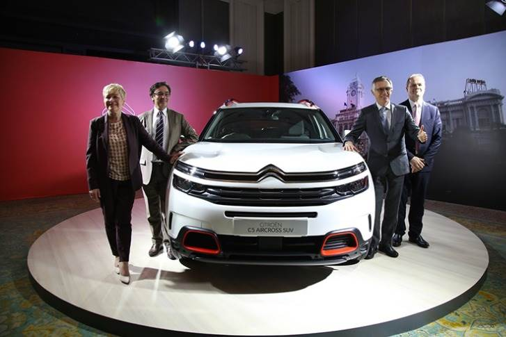 April 3, 2019: Jackson, former global CEO of Citroen, was in India along with Carlos Tavares to reveal Citroen's first model for India — the Aircross C5. Also seen are Citroen India's Roland Bouchara and Emmanuel Delay.