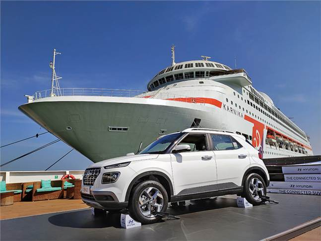 In a market on choppy waters, Hyundai Motor India is looking for wind in its sales. The Hyundai Venue was first revealed aboard a cruise ship on April 17.