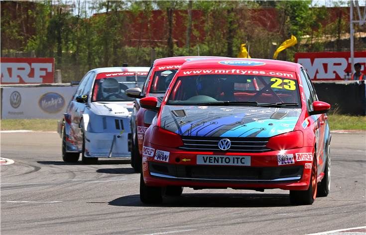 VW Motorsport's Ishaan Dodhiwala from Hyderabad notched his maiden win in the Indian Touring Cars class at the MMRT on July 21.