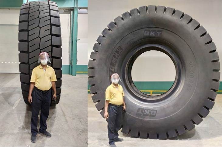 Designated Earthmax SR 468, this 57-incher is the largest tyre size ever made by BKT and is designed to go on rigid dump trucks. The prototype is to be tested the coming months by BKT engineers.