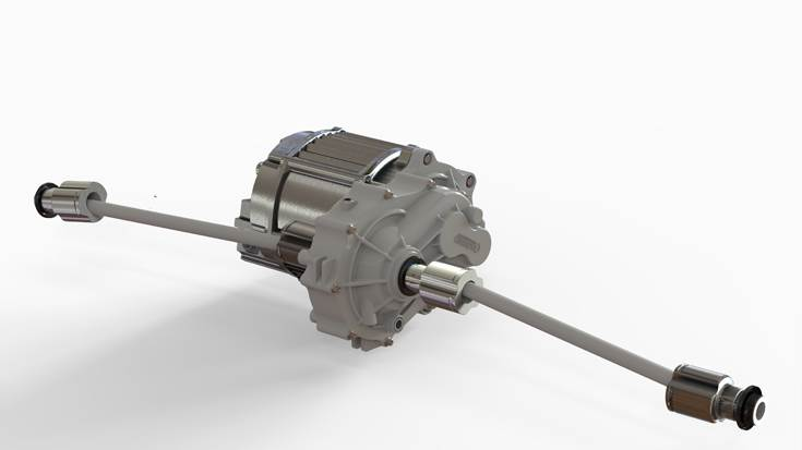 A 9kw e-axle compatible with CV shaft and any kind of boot, including muff cups. The drivetrain is being piloted in an e-passenger carrier.