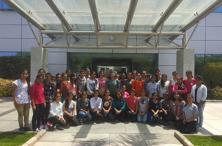 Girls of Lila Poonawalla Foundation visit Volkswagen plant in Chakan, Pune