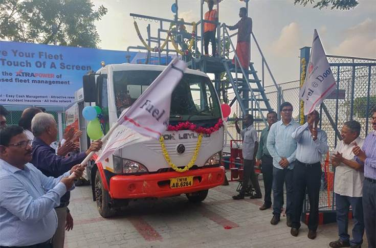 R Sitharthan flags off the mobile fuel dispenser from IOC